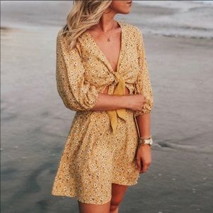 Skylar and Madison yellow floral tie dress